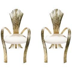 Pair of Unique Jacques Duval-Brasseur Bronze Chairs, 1970s