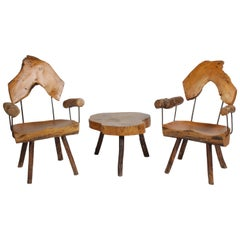 Pair of Unique Organic / Rustic Midcentury Log Chairs with Side Table