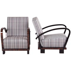 Pair of Unique Positioning Armchairs, Combination Macassar and Black Lacquer