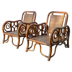 Pair of Unique Rattan Woven Armchairs