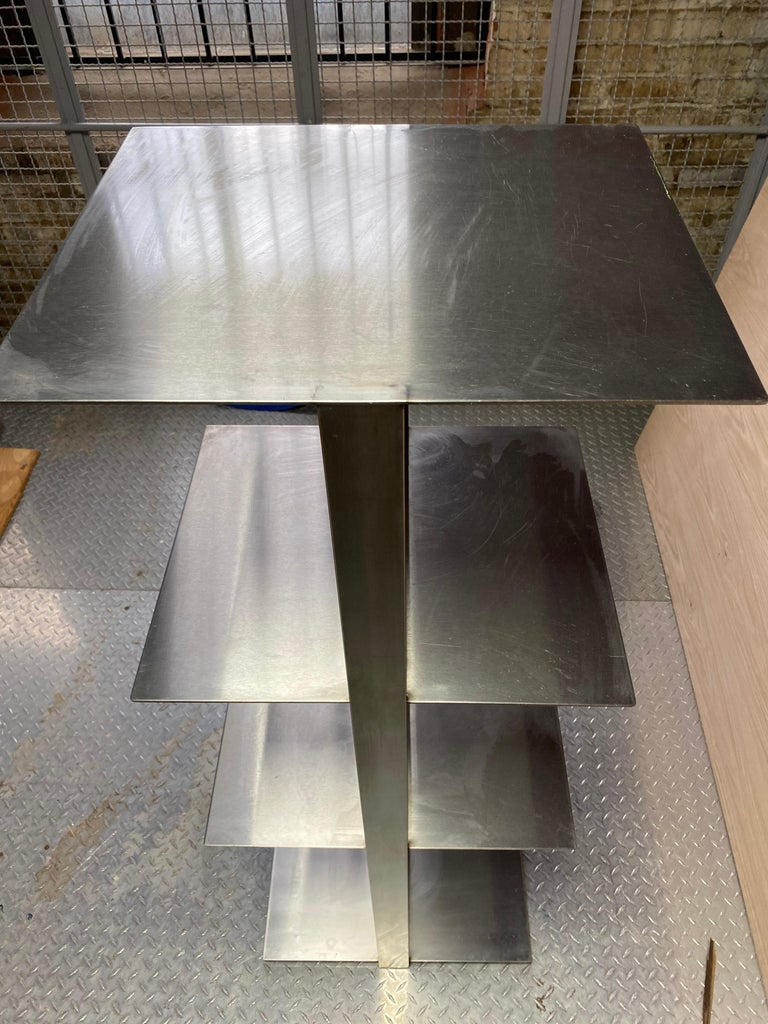 French Pair of Unique Stainless Steel Modern Étagères For Sale