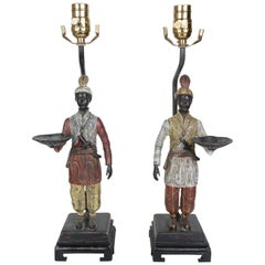 Pair of Unique Table Lamps with Arabian Figurines Holding Abalone Serving Trays