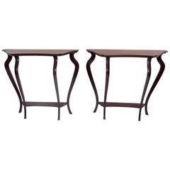 Pair of Unique Walnut Curved Console by Arch. Tempestini, 1940-1950