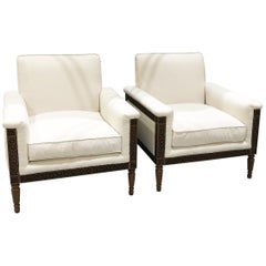 Pair of Unique Mid-Century in Art Deco Style Wood Carved Cream Club Armchairs