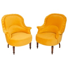 Pair of Unique Yellow Mustard Armchairs, 1930s, Germany