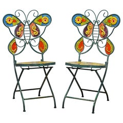 Pair of Uniquely Artful Painted Iron and Inlaid Ceramic Mosaic Butterfly Chairs