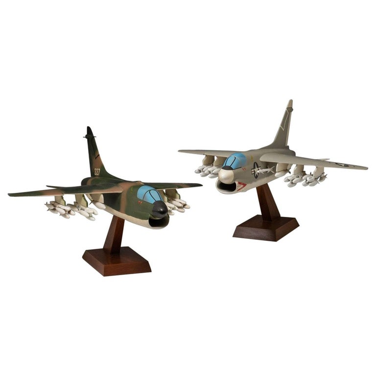 Pair of United States Military A-7 Corsairs Model Aircrafts, circa 1970 For Sale