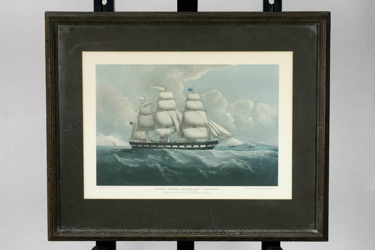 Framed pair of United States packet ship nautical prints of