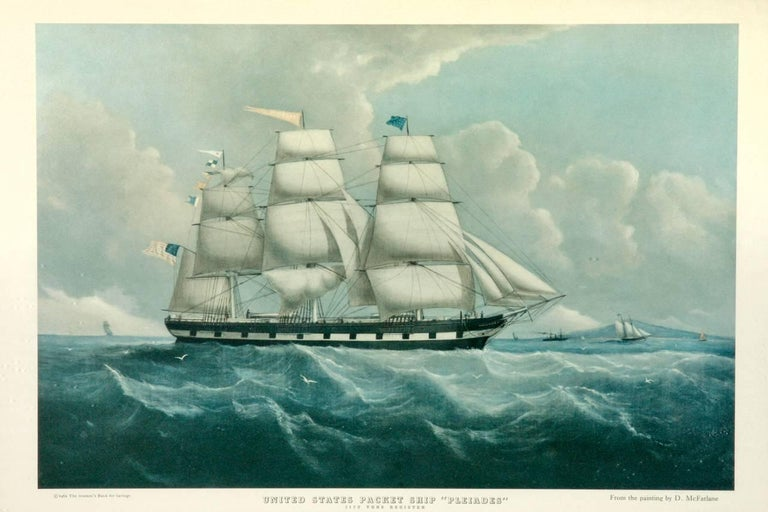 American Pair of United States Packet Ship Nautical Prints For Sale