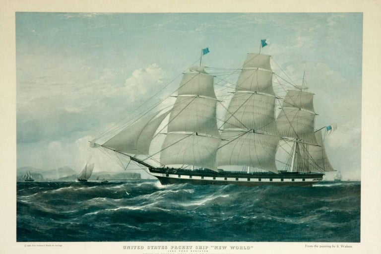 Pair of United States Packet Ship Nautical Prints In Good Condition For Sale In Oakland, CA