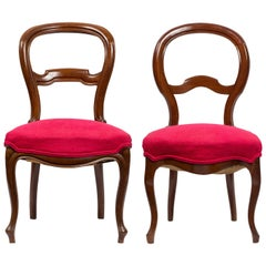 Pair of Unmatched 19th Century Walnut and Magenta Red Fabric Spanish Chairs