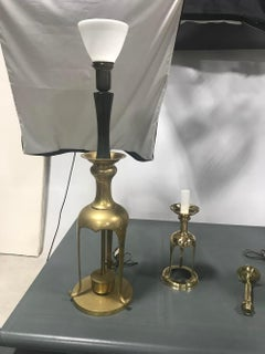 Pair of Unrestored Open Base Solid Brass Table Lamps