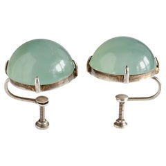 Jade Earrings Circa 1920 Glassy & Sublime Certified Untreated: Rare
