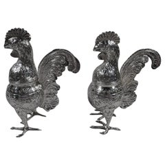 Pair of Unusual and Delightful Sterling Silver Rooster Spice Boxes