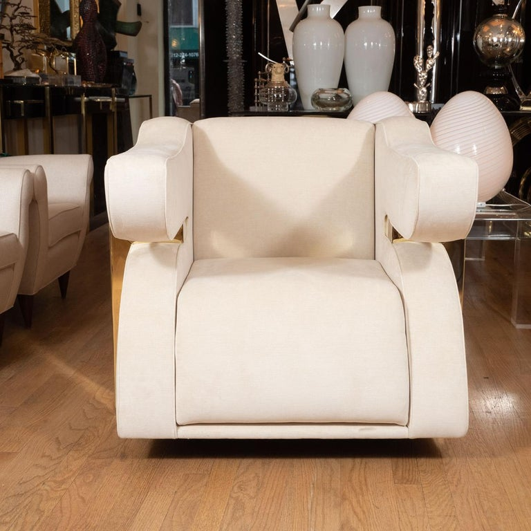 Mid-Century Modern Pair of Unusual Brass and Upholstered Armchairs For Sale