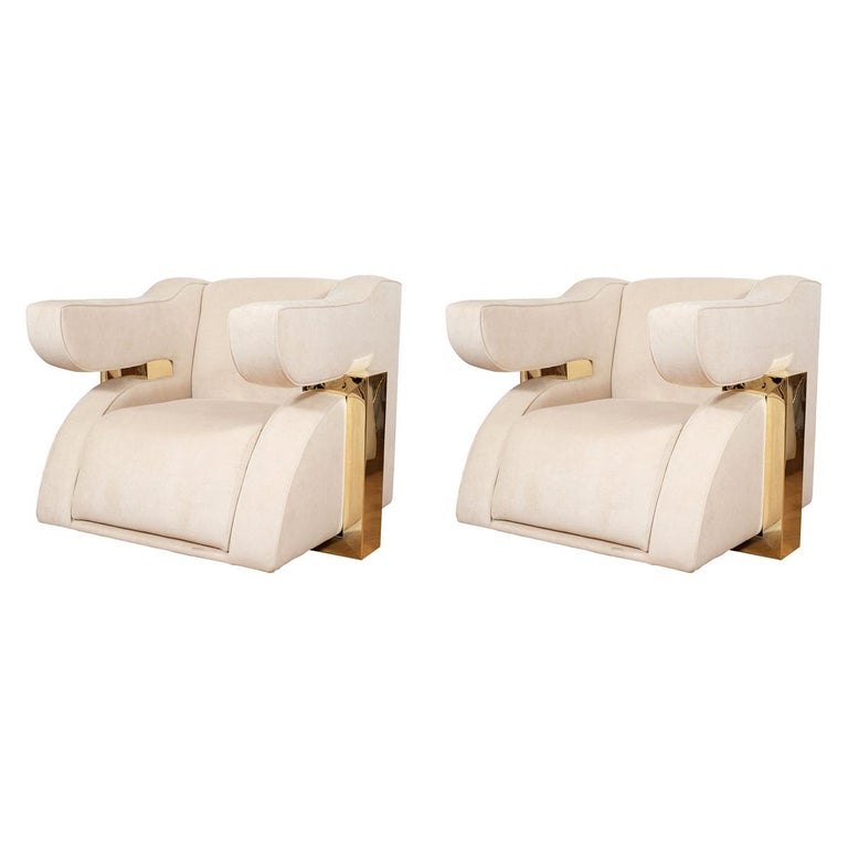 Pair of Unusual Brass and Upholstered Armchairs For Sale