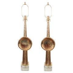 Pair of Unusual Brass Obelisk Table Lamps