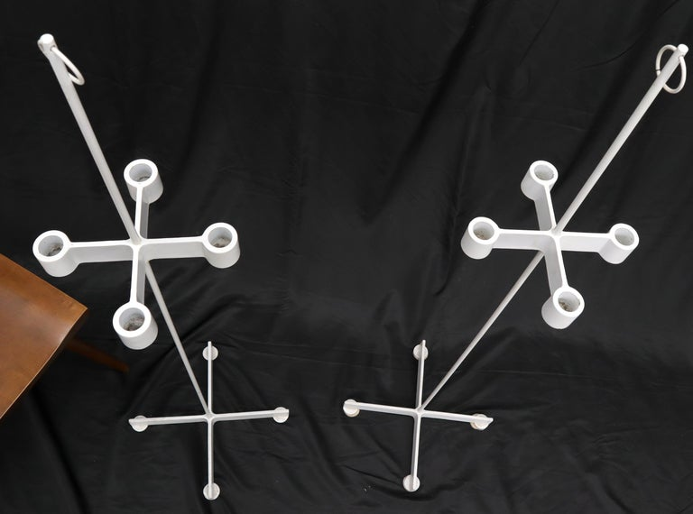 American Pair of Unusual Cast Iron Bases Tall Floor Candle Sticks For Sale