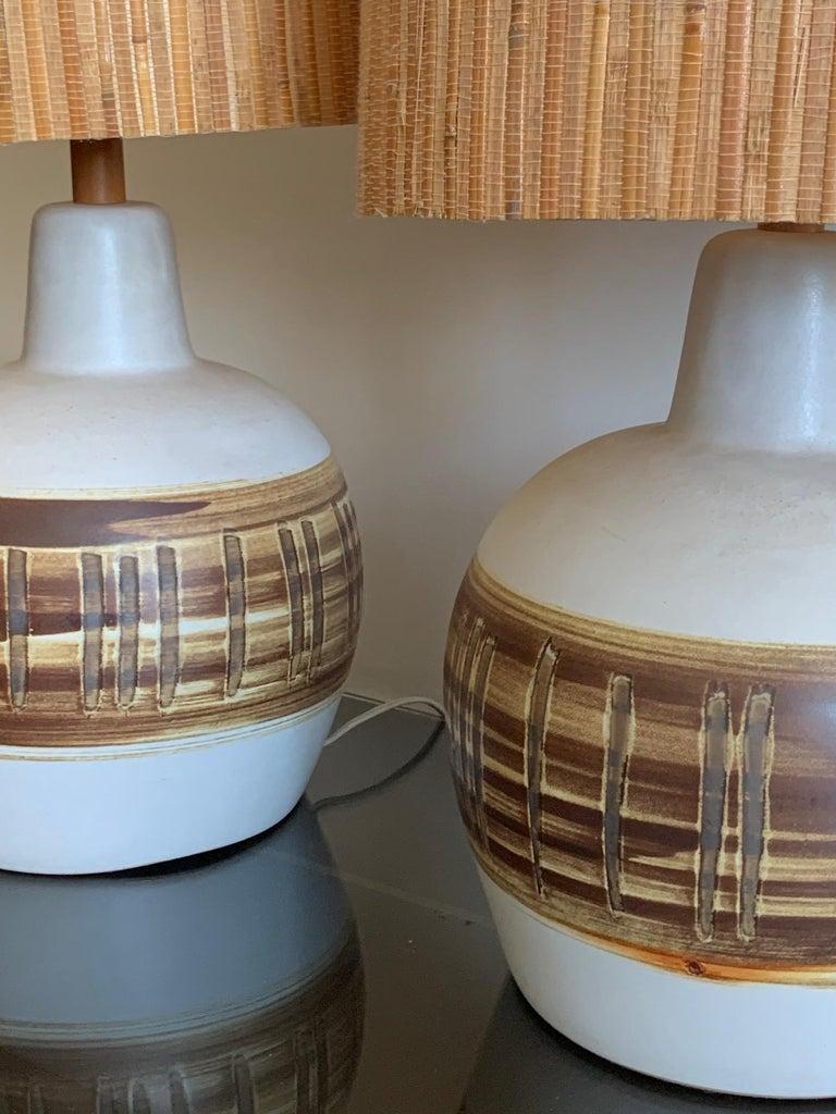 Pair of Unusual Ceramic Lamps by Gordon Martz For Sale 4