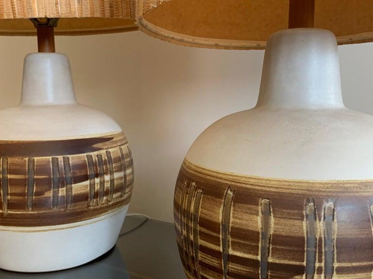 Pair of Unusual Ceramic Lamps by Gordon Martz For Sale 5