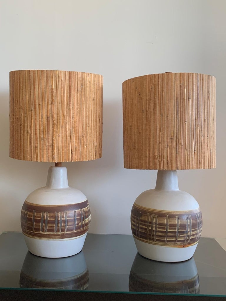 Pair of Unusual Ceramic Lamps by Gordon Martz For Sale 7