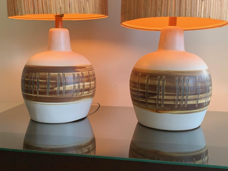Mid-Century Modern Pair of Unusual Ceramic Lamps by Gordon Martz For Sale