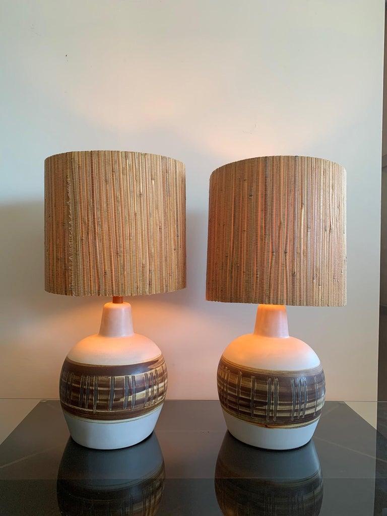 American Pair of Unusual Ceramic Lamps by Gordon Martz For Sale
