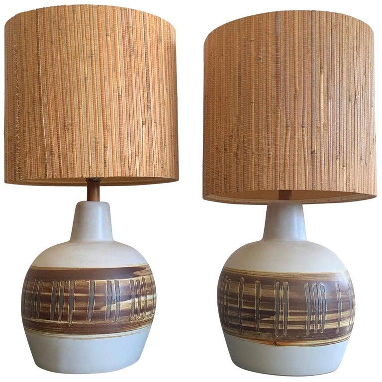 Pair of Unusual Ceramic Lamps by Gordon Martz For Sale