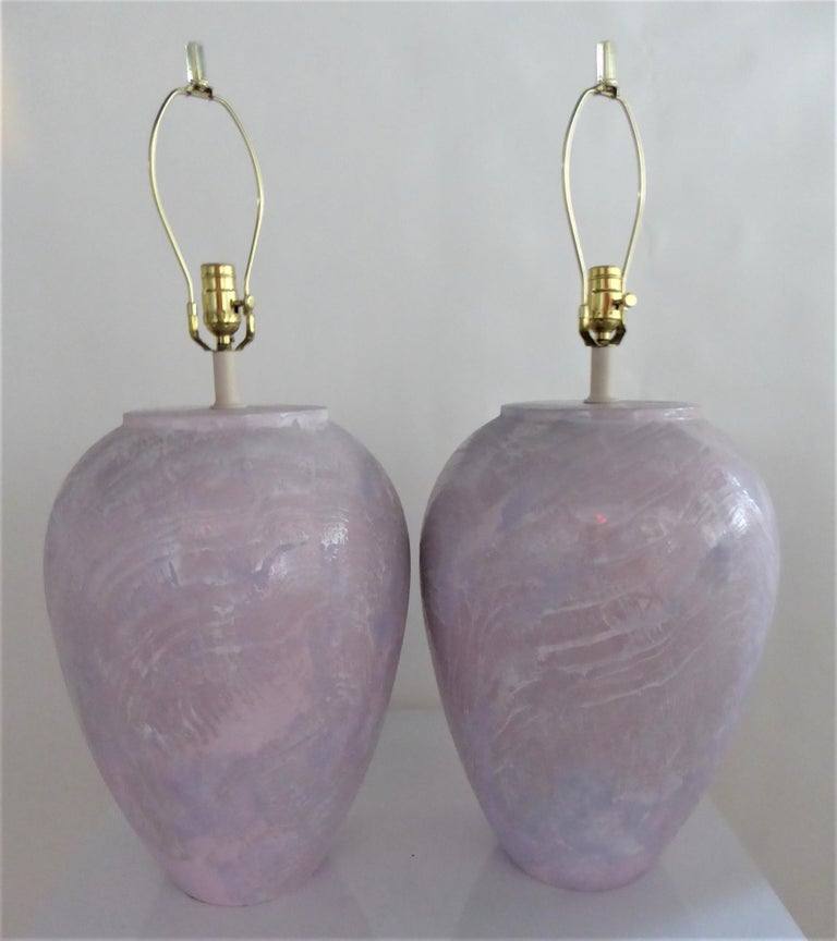 Modern Pair of Unusual Fat Drip Glazed Oil Jar Form Table Lamps For Sale