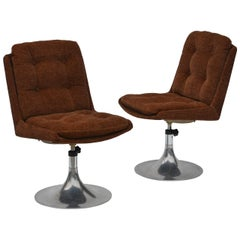 Pair of Unusual French 1960s Pedestal Chairs in the Style of Roger Tallon
