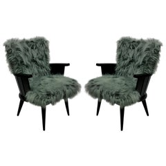 Pair of Unusual French Midcentury Armchairs in Fur
