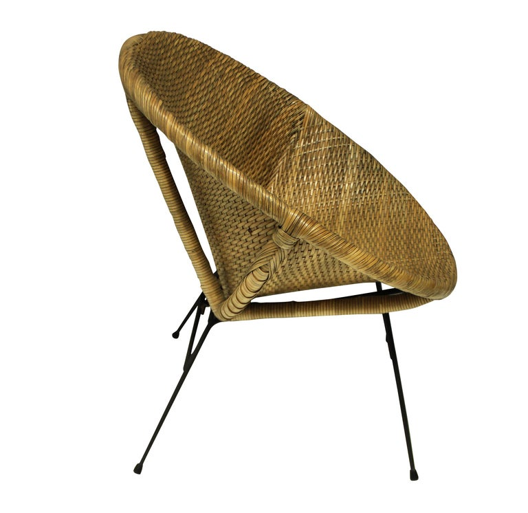Mid-Century Modern Pair of Unusual French Midcentury Rattan Chairs