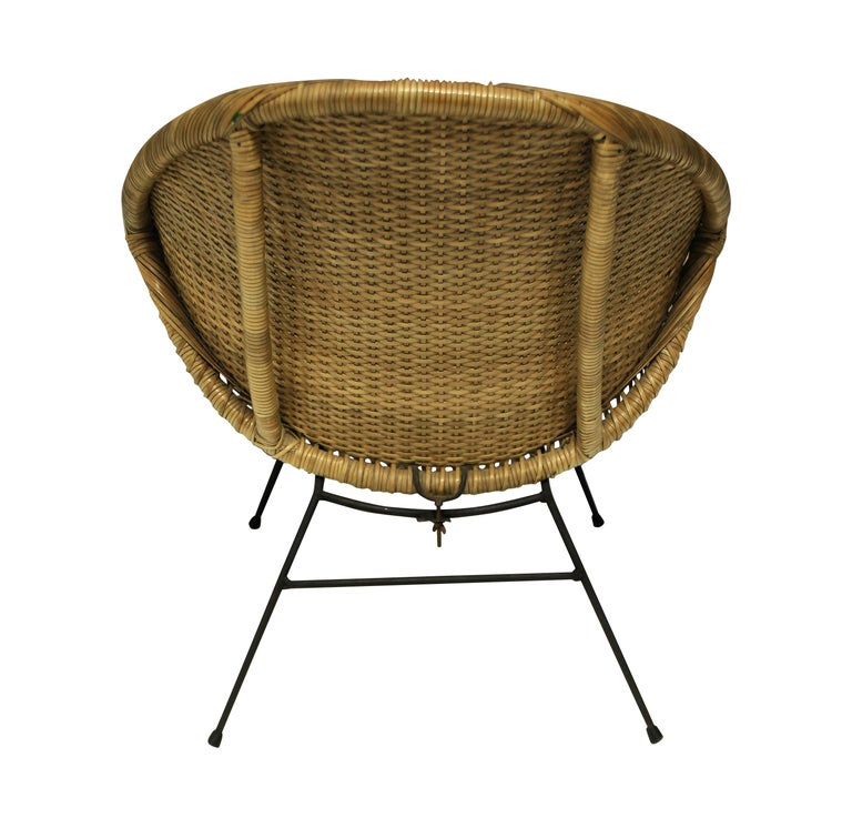 Pair of Unusual French Midcentury Rattan Chairs In Good Condition In London, GB