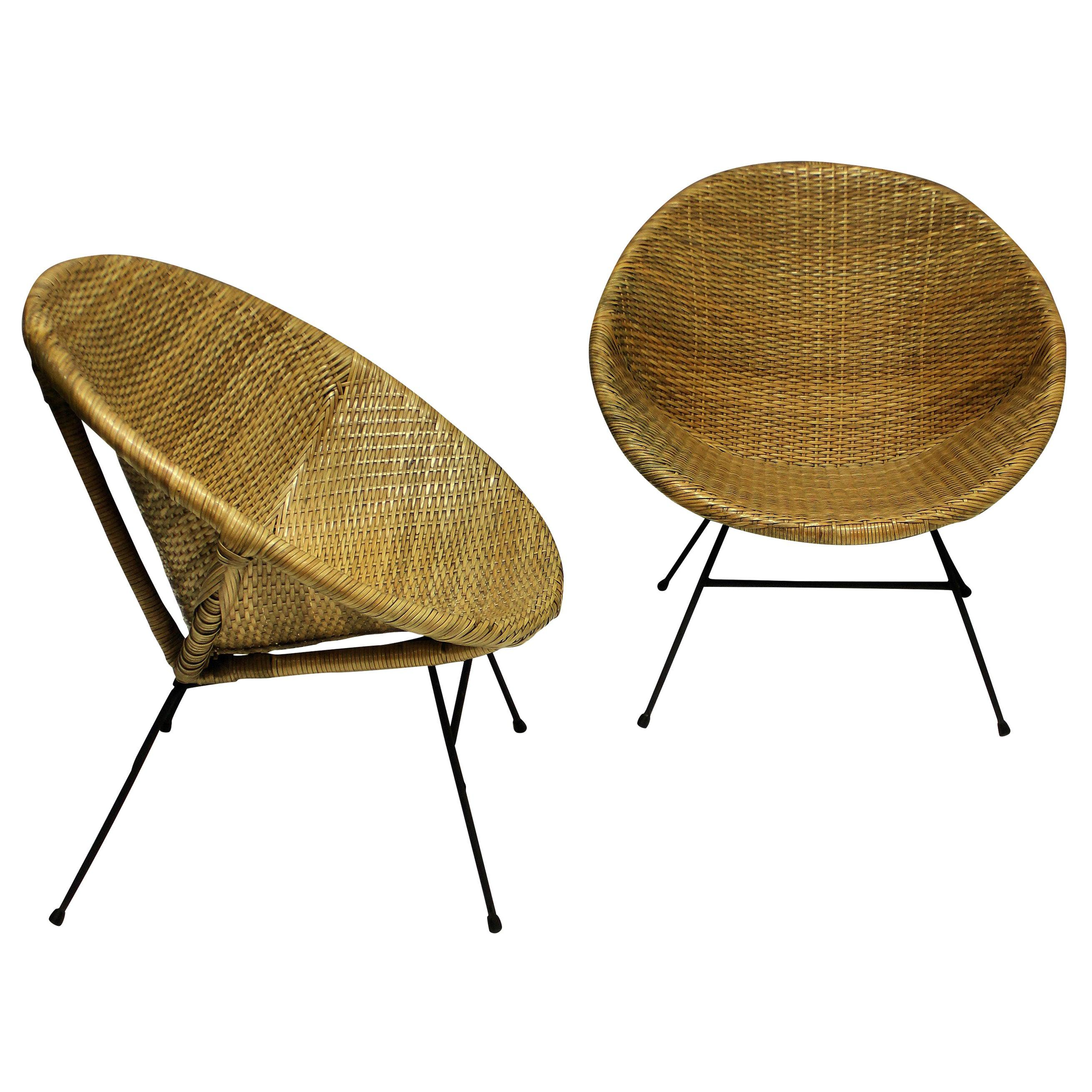 Pair of Unusual French Midcentury Rattan Chairs