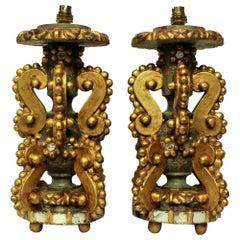 Pair of Unusual Genoese Giltwood Lamps