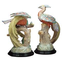 Pair of Unusual German Porcelain Potschappel Phoenix Birds on Stands, circa 1900