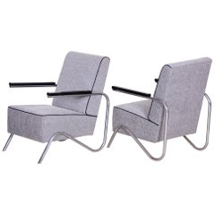 Pair of Unusual Grey Restored Tubular Chrome Armchairs, New Upholstery, 1930s