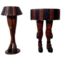 Pair of Unusual Hardwood Occasional Tables Depicting Scotsman and A Barmaid