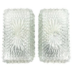 Pair of Unusual Ice Glass Sconces, Glass Wall Lights RZB Leuchten, Germany 1960s