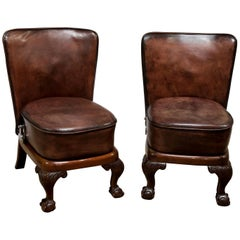 Pair of Unusual Mahogany Framed Leather Seats