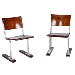 Pair of Unusual Restored Beech Bauhaus Folding Chairs, Chrome, Germany, 1920s