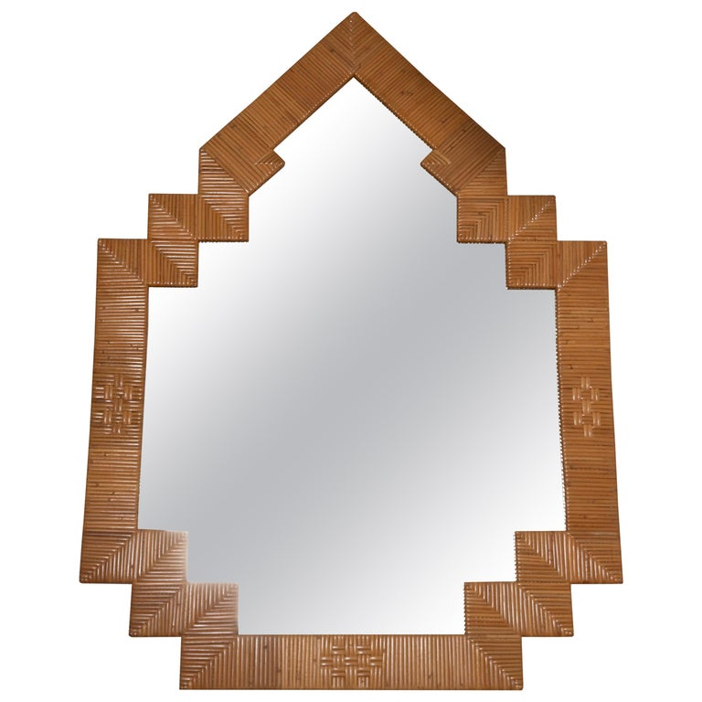 Pair of Unusual Shaped Rattan Surround Mirrors For Sale