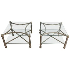 Pair of Unusual Side Tables Made of Chrome and Glass, French, circa 1970