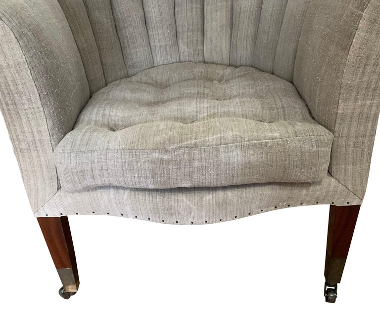 Linen Pair of Upholstered Armchairs, Barrel Back, England, 19th Century For Sale