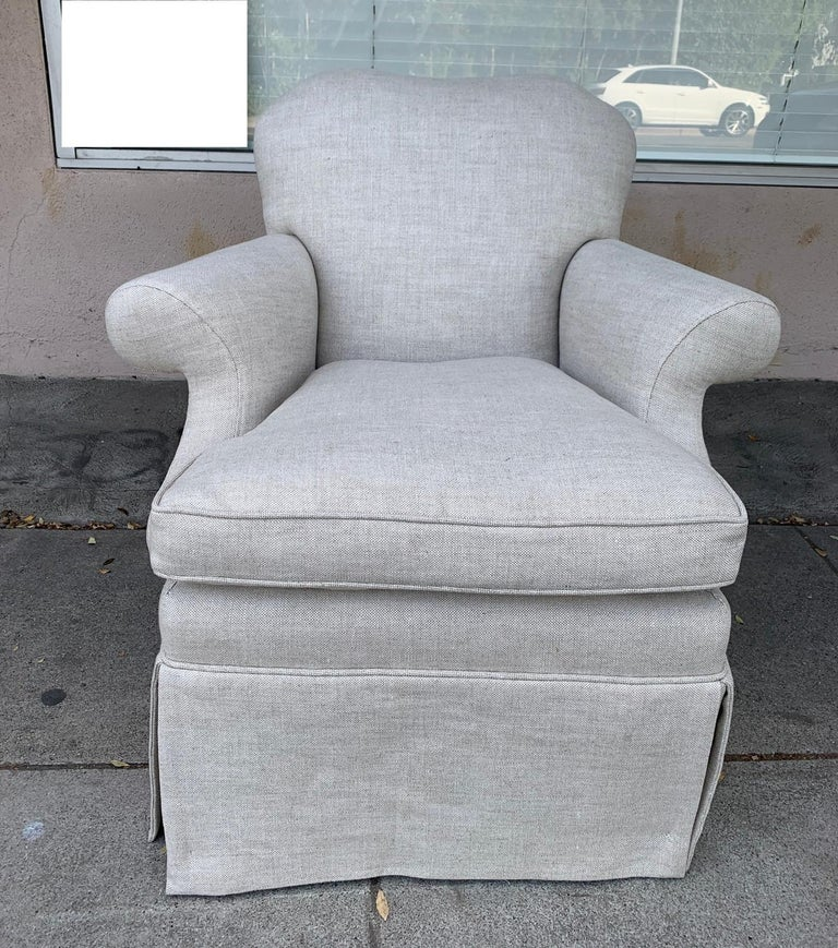 Beautiful pair of upholstered armchairs designed and manufactured in Los Angeles California by J. Robert Scott, the chairs are newly upholstered, excellent condition and ready to be displayed. The chairs do not retain the J Robert Scott label. The