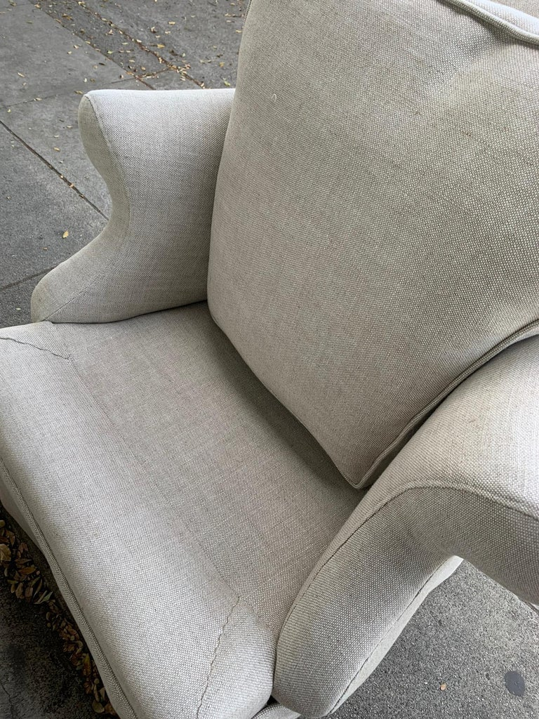 Linen Pair of Upholstered Armchairs by J. Robert Scott For Sale
