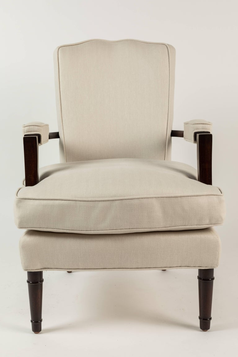Pair of Upholstered Armchairs by Jules Leleu For Sale 1