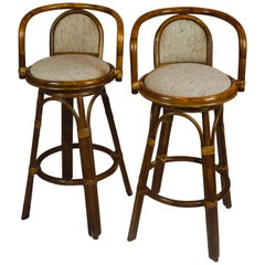 Pair of Upholstered Bamboo Midcentury Swivel Bar Stools