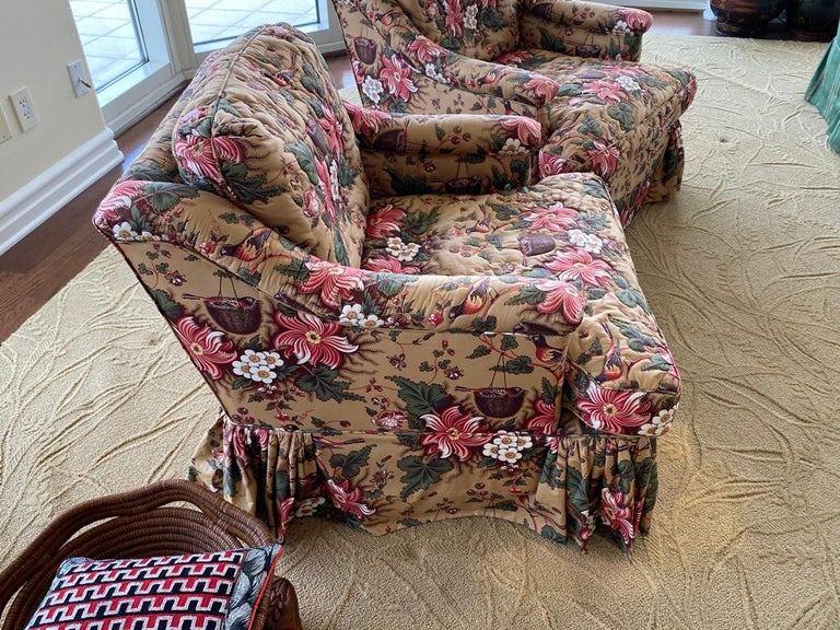 American Classical Pair of Upholstered Bedroom Armchairs  For Sale