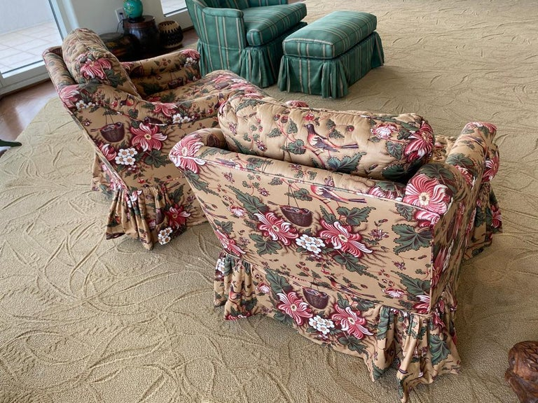 North American Pair of Upholstered Bedroom Armchairs  For Sale